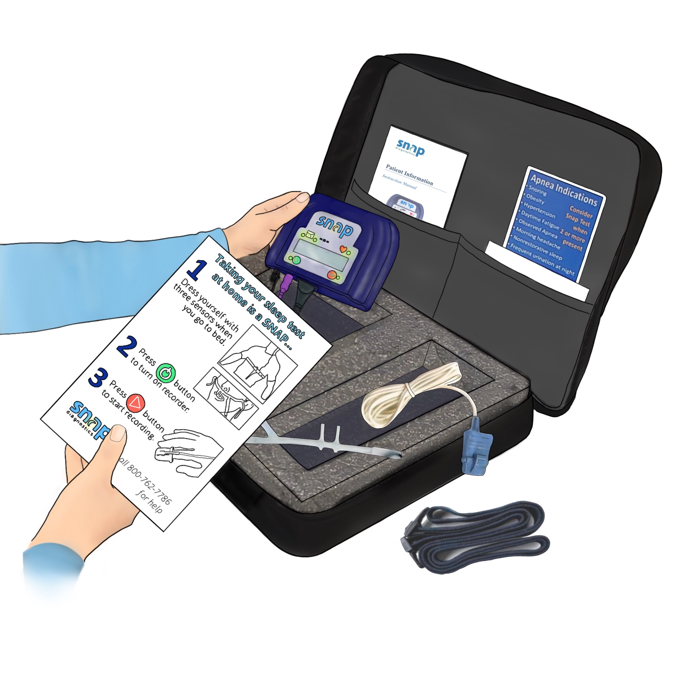 A drawing of a person holding a Snap Diagnostics home sleep apnea test with instructions