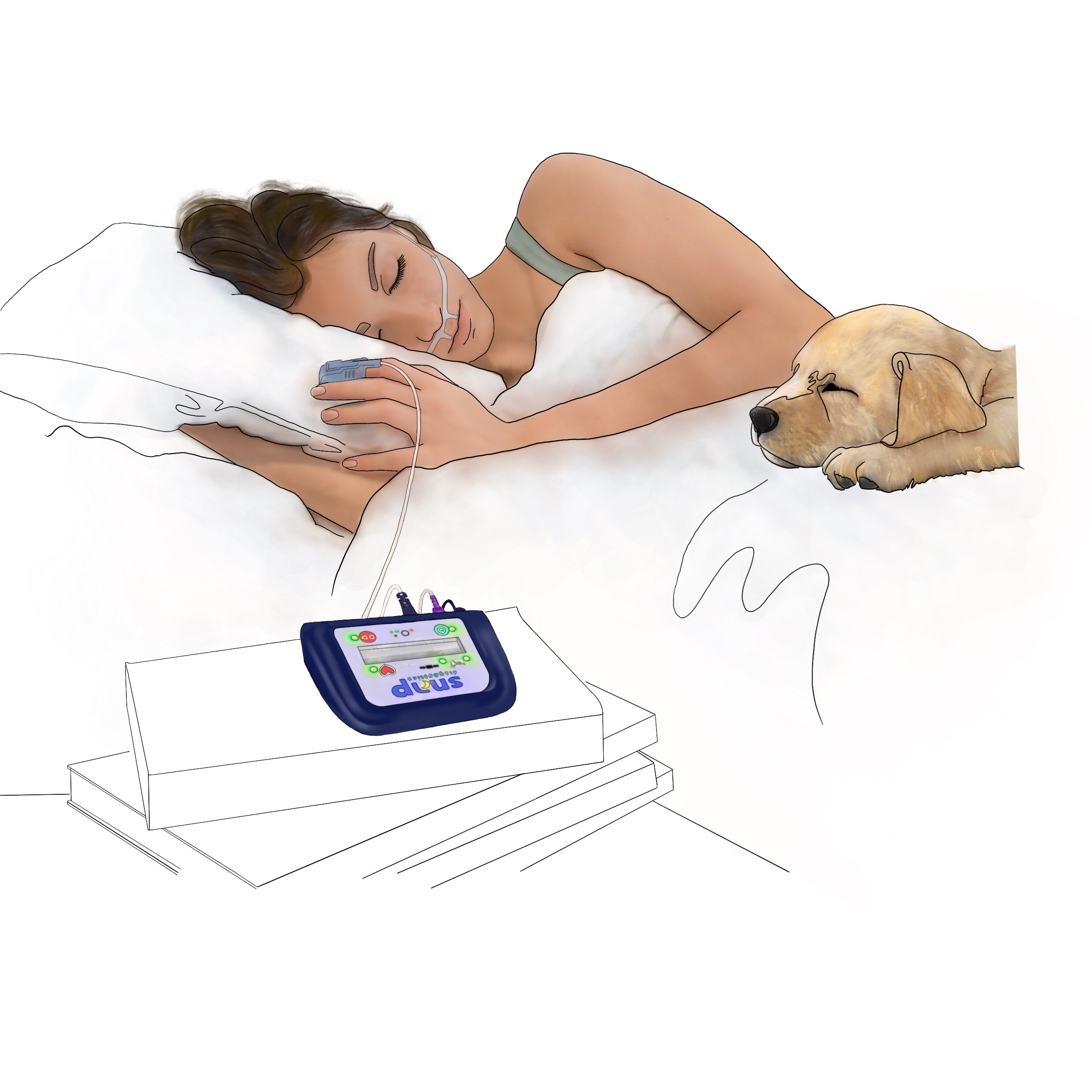 A drawing of a person sleeping at home with a Snap Diagnostics portable home sleep apnea test