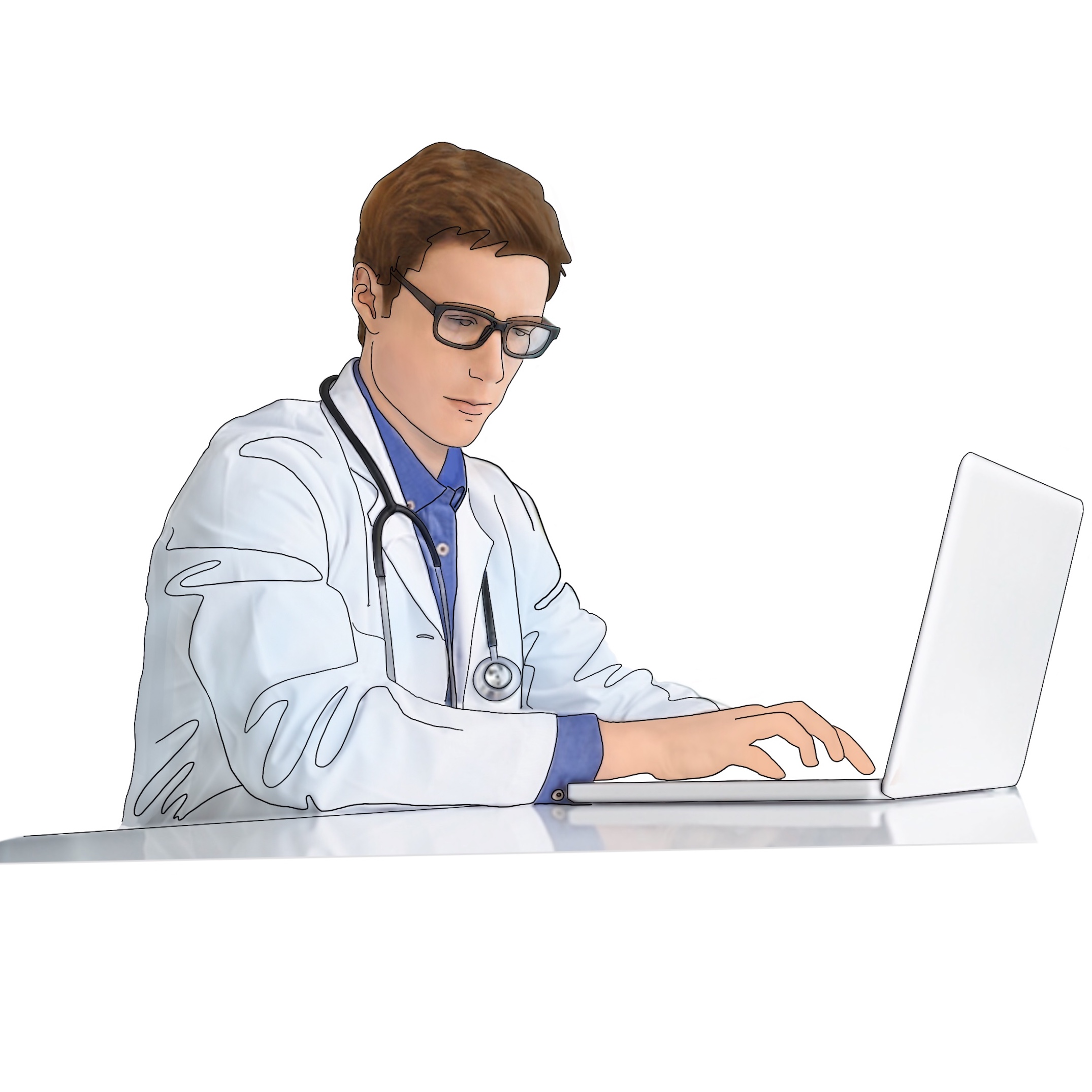 A drawing of a medical provider ordering a Snap home test for diagnosis of sleep apnea