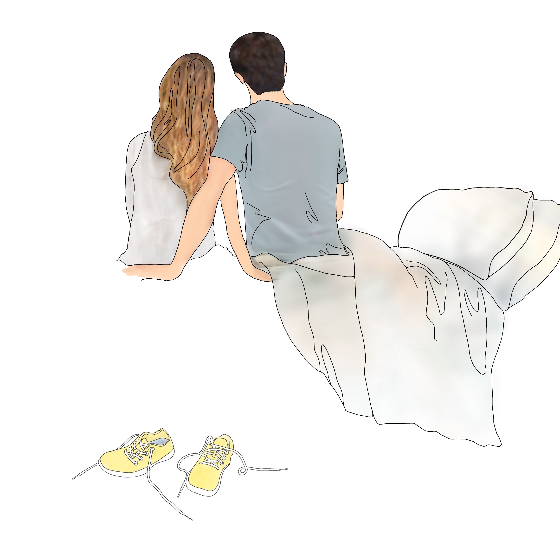 A drawing of a couple at home sitting on a bed